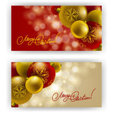 Christmas Background with baubles for inviations. Elegant Christmas background with Christmas balls, baubles for greeting card, invitation. Vector illustration Royalty Free Illustration