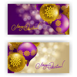 Christmas Background with baubles for inviations. Elegant Christmas background with Christmas balls, baubles for greeting card, invitation. Vector illustration Stock Illustration