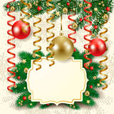 Christmas background with baubles and label Stock Images