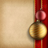 Christmas background - baubles and paper sheet Royalty Free Stock Photography