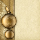 Christmas background - baubles and paper sheet Royalty Free Stock Images