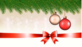 Christmas background with baubles, pine branches Royalty Free Stock Photo