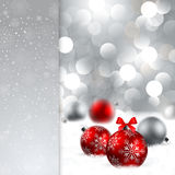 Christmas background with baubles and place for te. Christmas background with red and silver baubles and place for text Stock Images