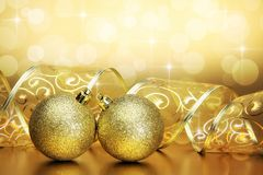 Christmas background with baubles and ribbon Royalty Free Stock Photography