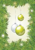 Christmas background with baubles and ribbon Stock Photo