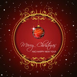 Christmas background with baubles and snow Stock Photography