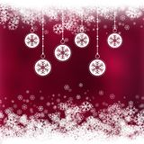 Christmas background with baubles with snowflake design stock illustration