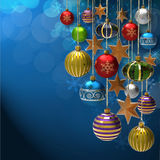 Christmas background and baubles and star Royalty Free Stock Photo
