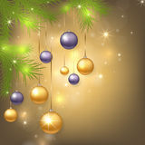 Christmas background with baubles and tree. Christmas background with golden and purple balls. Colorful Xmas baubles. Vector illustration vector illustration