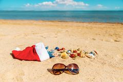 Christmas background on the beach with shells on the sand stock photo