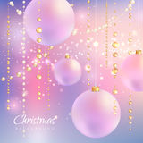 Christmas background with beads and balls Stock Photo
