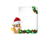 Christmas background. With bear and Christmas hat Stock Photo