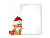 Christmas background. With bear with Christmas hat Stock Image
