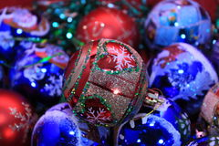Christmas background of beautiful balls. Christmas background red ball close-up Stock Images