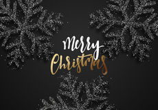 Christmas background, with beautiful bright snowflakes realistic shine glitter. Stock Photos