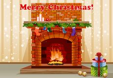 Christmas background. Beautiful old fireplace with Christmas decorations Royalty Free Stock Photography