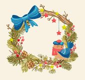 Christmas background with beautiful wreath Stock Photography