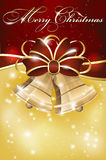 Christmas background with bell, bow and snowflakes Royalty Free Stock Photography