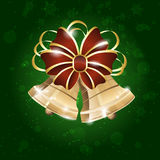 Christmas background with bell, bow and snowflakes Royalty Free Stock Photo