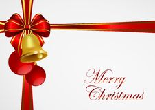 Christmas background with bell and red ribbon Royalty Free Stock Photo