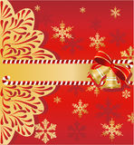 Christmas background with bells. And snowflake Stock Images
