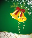 Christmas background with bells. Bell bow christmas holiday  new fir card Stock Photos