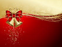 Christmas background with bells and bow Royalty Free Stock Image