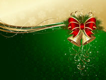 Christmas background with bells and decorative bow Royalty Free Stock Photography