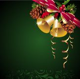 Christmas background with bells and pinecone. Pinecone bell card ribbon tree snowflake floral Vector Illustration