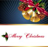 Christmas background with bells and pinecone Royalty Free Stock Images