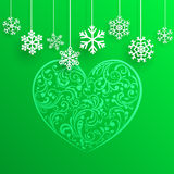 Christmas background with big heart and hanging snowflakes Royalty Free Stock Images