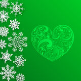 Christmas background with big heart and snowflakes Stock Photography