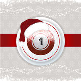 Christmas background with bingo ball and Santa hat Royalty Free Stock Images