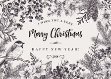 Christmas background with bird. vector illustration