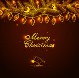 Christmas background with bird and decorations Royalty Free Stock Photography