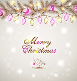 Christmas background with bird and decorations Royalty Free Stock Photos