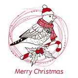 Christmas background with bird. Stock Photography