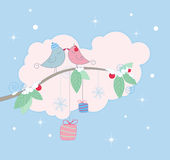 Christmas background with birds Stock Photo