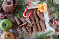 Christmas Background With Biscuits And Fruits Royalty Free Stock Image