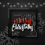 Christmas background black color with realistic garlands and beautiful snowflakes in the frame. Royalty Free Stock Image
