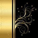 Christmas background. Christmas black and golden background with snowflakes Royalty Free Stock Photo