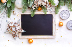 Christmas background  and blackboard Royalty Free Stock Photography