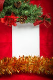 Christmas background  blank note paper Top view Royalty Free Stock Photo
