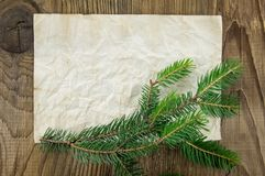 Christmas Background.Blank Old Paper Sheet with. Decoration Royalty Free Stock Photo