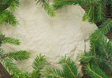 Christmas Background.Blank Old Paper Sheet with. Decoration Stock Photography
