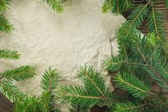 Christmas Background.Blank Old Paper Sheet with. Decoration Royalty Free Stock Image