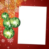 Christmas background with blank paper and christmas baubles Stock Photography