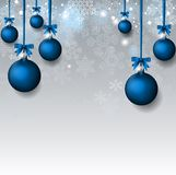 Christmas background with blu baubles Royalty Free Stock Images