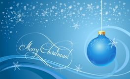 Christmas background with blue ball. And hand-drawing calligraphic title (NOT used font Royalty Free Stock Photos