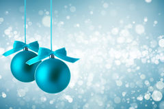 Christmas background with blue ball. Abstract defocused blurred blue background with blue ball Royalty Free Stock Images